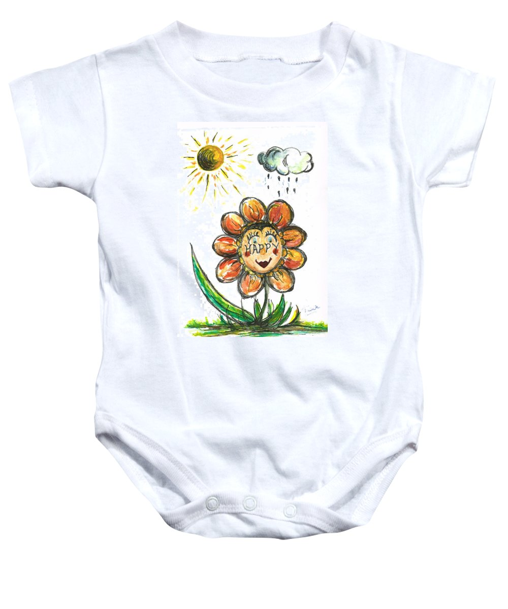 Teresa White Baby Onesie featuring the painting Happy Flower by Teresa White