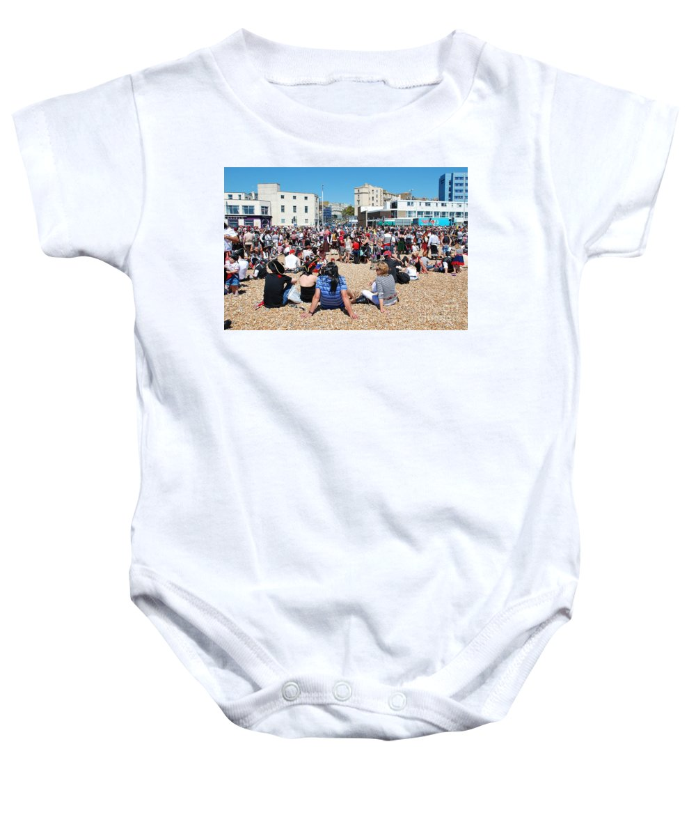 Hastings Baby Onesie featuring the photograph Hastings Pirate Day by David Fowler