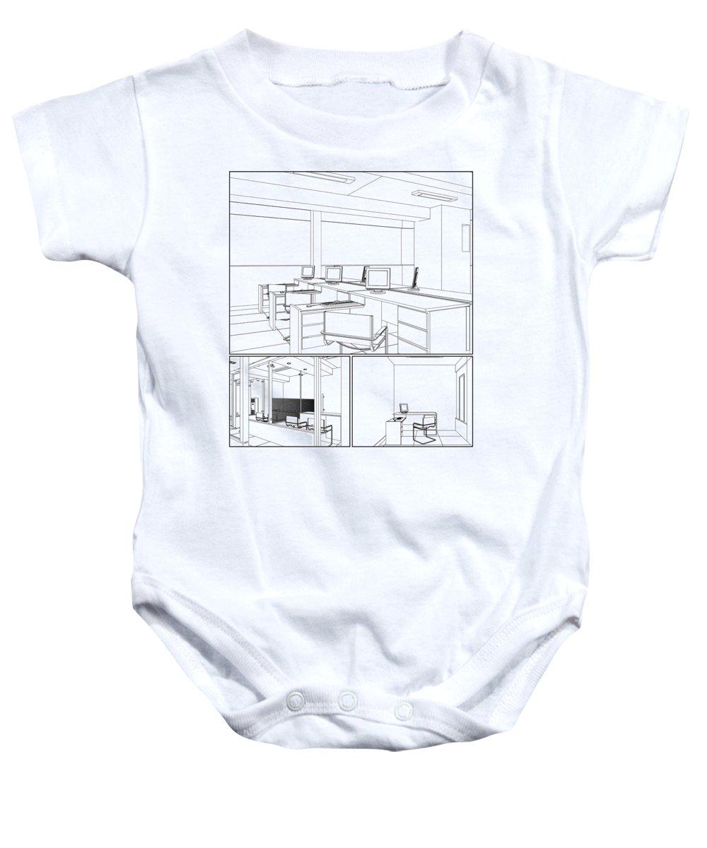 Interior Baby Onesie featuring the digital art Interior Office Rooms by Nenad Cerovic