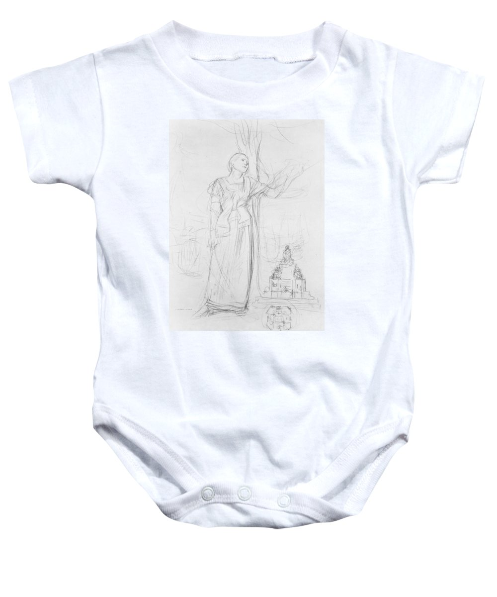 Joan Of Arc Baby Onesie featuring the drawing Joan Of Arc by Jules Bastien-Lepage