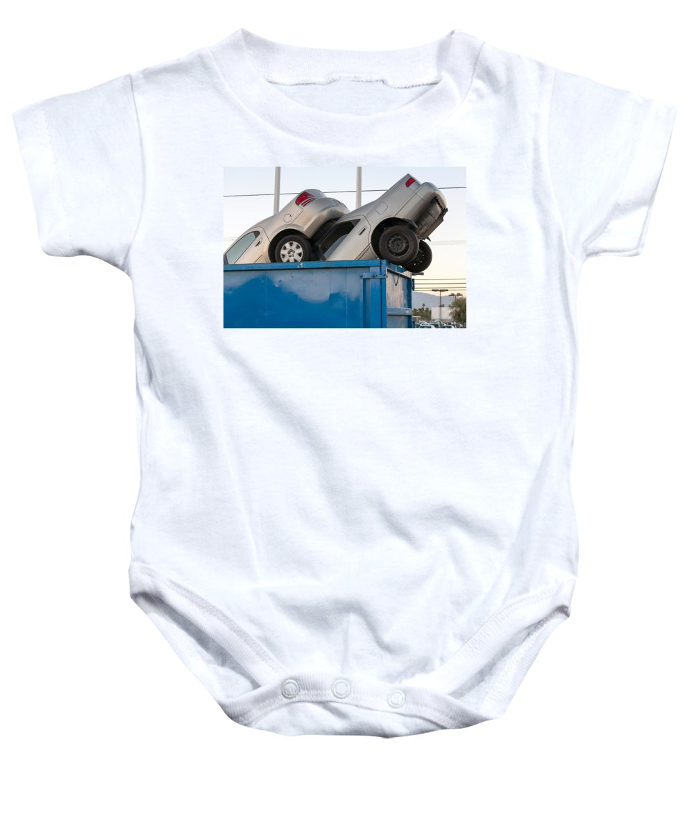 Aluminum Baby Onesie featuring the photograph Junk Cars In Dumpster Cash For Clunkers by Gunter Nezhoda