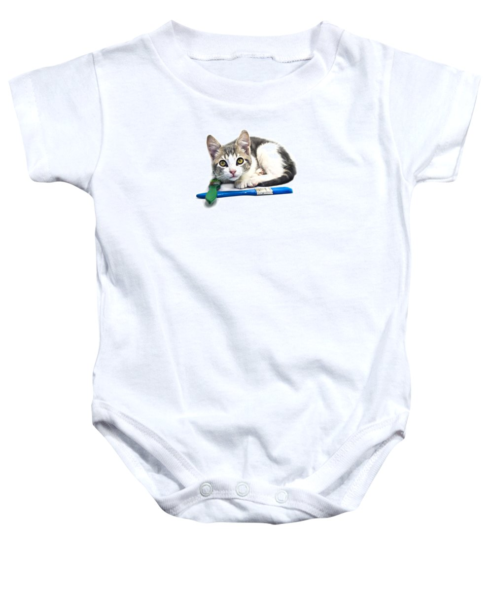 Cat Baby Onesie featuring the photograph Kitten With Paint Brushes by Susan Leggett