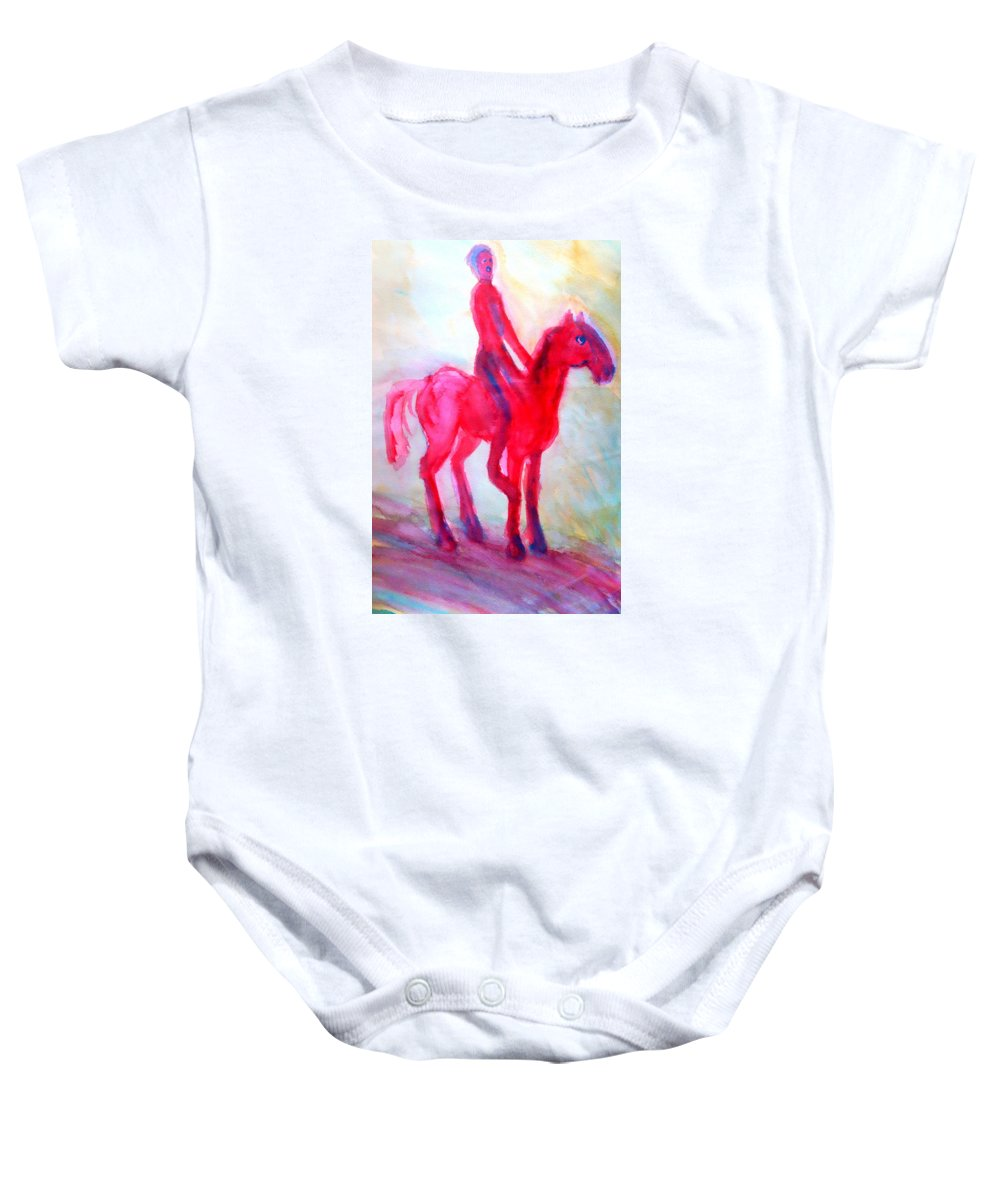 Horse Baby Onesie featuring the painting You Made A Difference Between Boys And Girls, Brothers And Sisters by Hilde Widerberg
