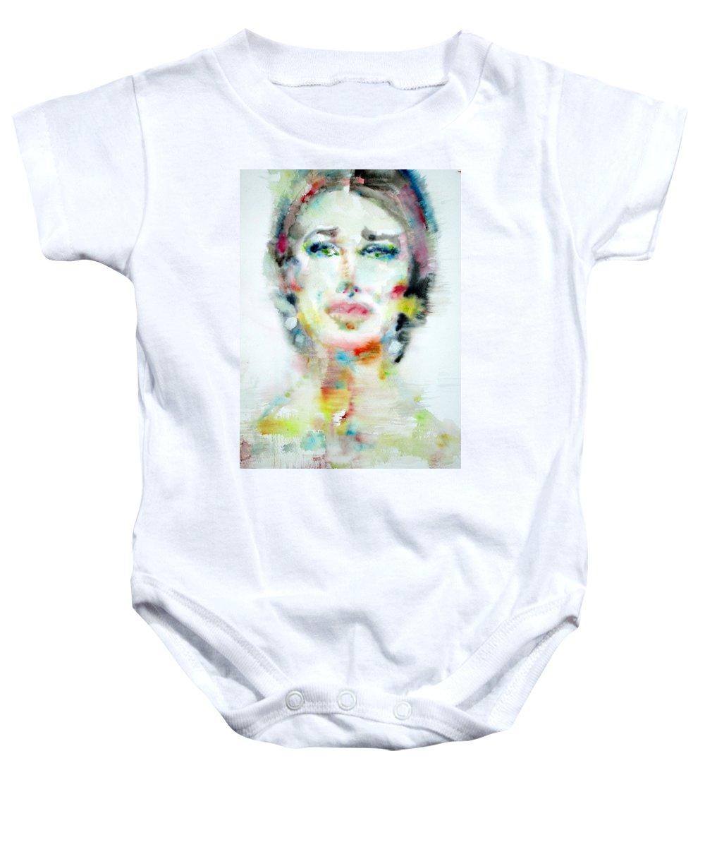 Maria Callas Baby Onesie featuring the painting Maria Callas - Watercolor Portrait.2 by Fabrizio Cassetta