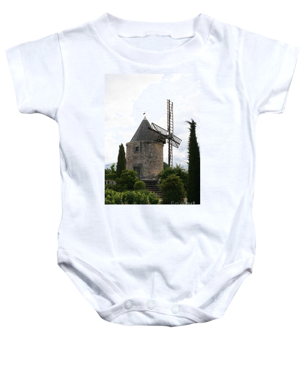 Mill Baby Onesie featuring the photograph Old Provencal Windmill by Christiane Schulze Art And Photography