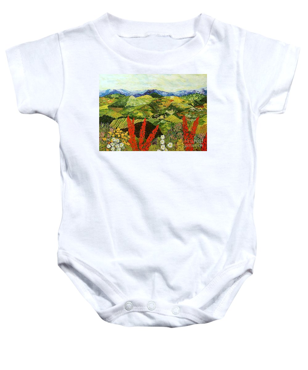 Landscape Baby Onesie featuring the painting One More Step by Allan P Friedlander