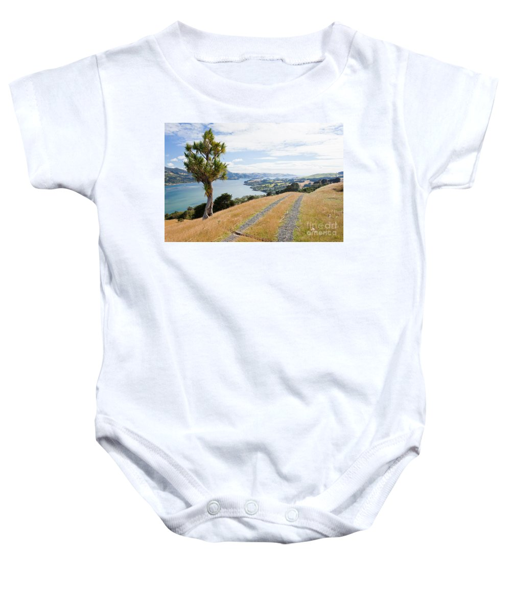 South Island Baby Onesie featuring the photograph Otago Peninsula Coastal Landscape Dunedin Nz by Stephan Pietzko