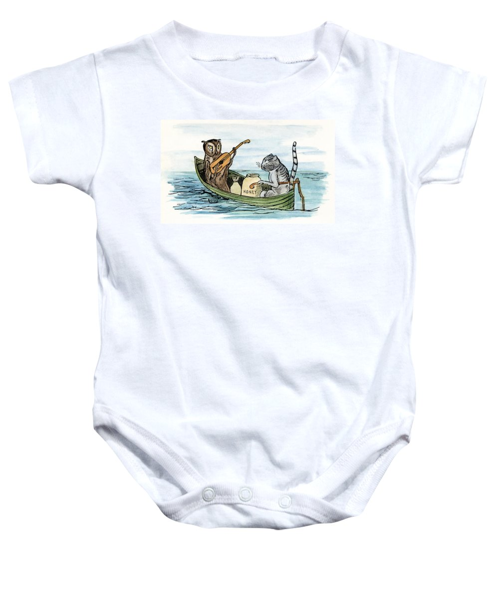 1871 Baby Onesie featuring the drawing Owl And The Pussycat by Granger