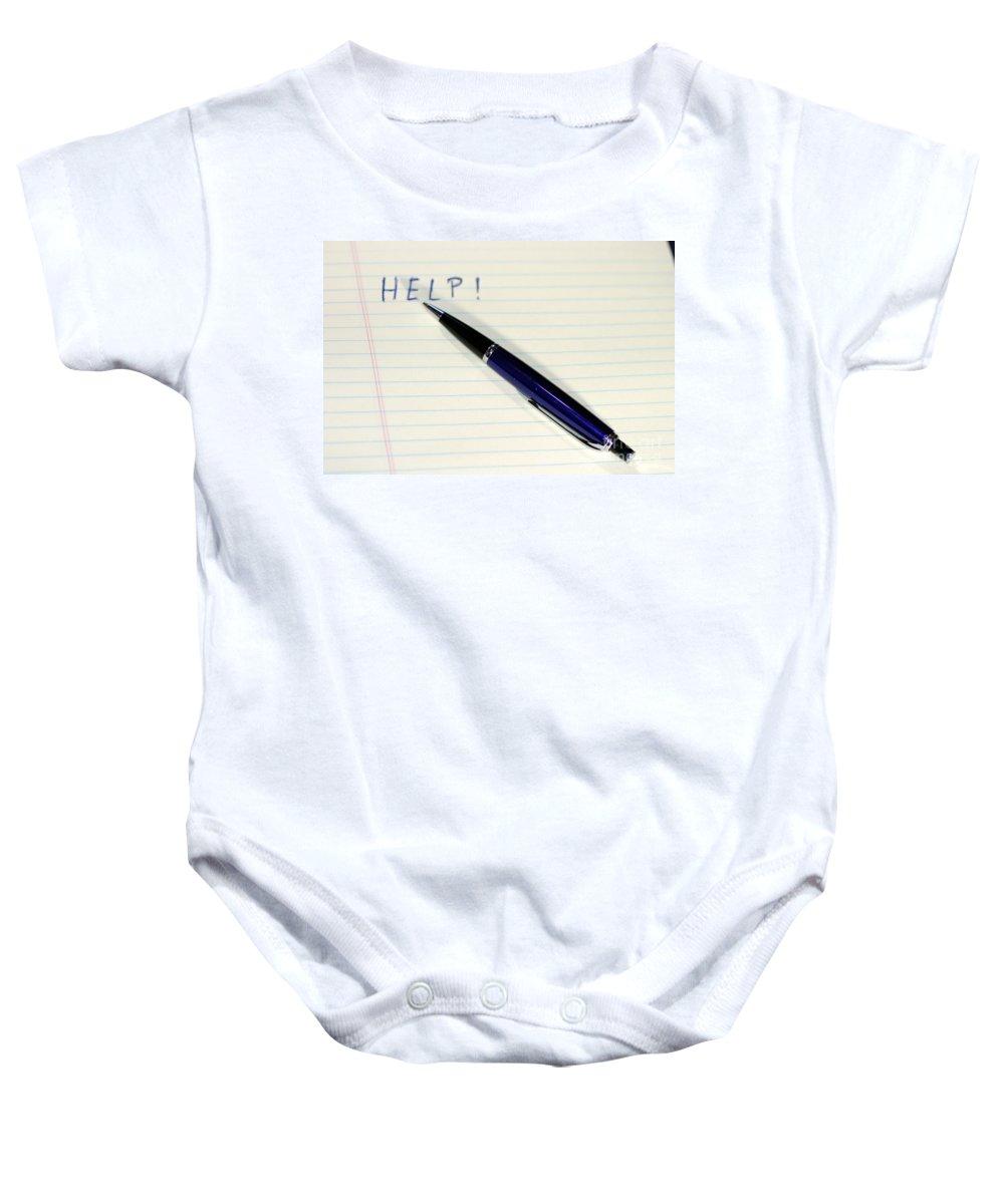 Pen Baby Onesie featuring the photograph Pen Help by Henrik Lehnerer