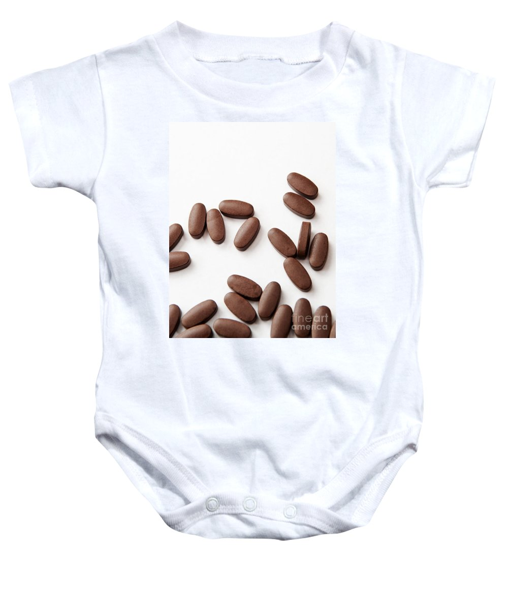 Addiction Baby Onesie featuring the photograph Pills On White by Tim Hester