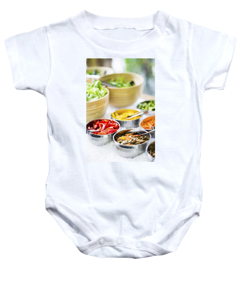 Bowl Baby Onesie featuring the photograph Salad Bowls With Mixed Fresh Vegetables by Jacek Malipan
