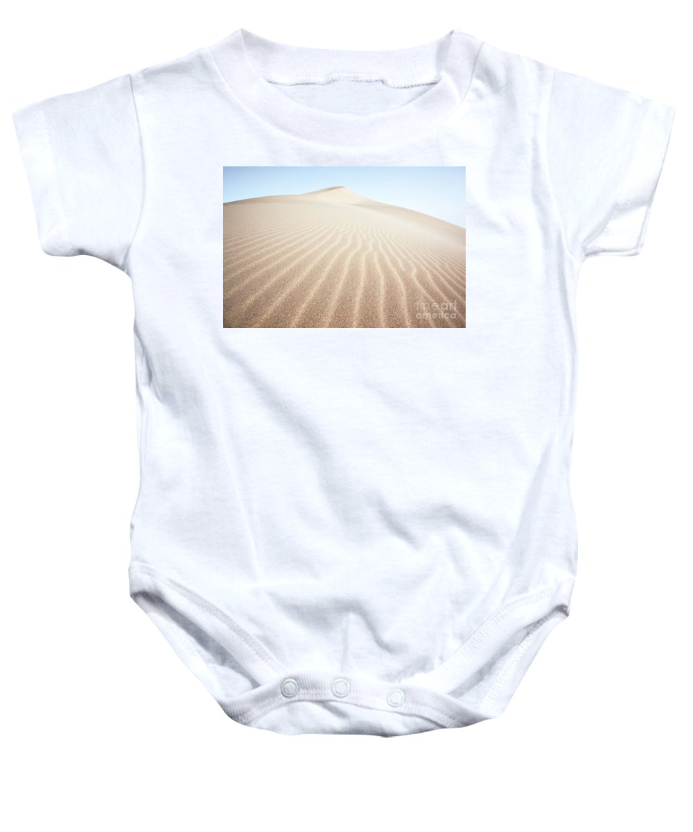 China Baby Onesie featuring the photograph Sand Dunes In The Desert At Sunrise Dunhuang China by Matteo Colombo