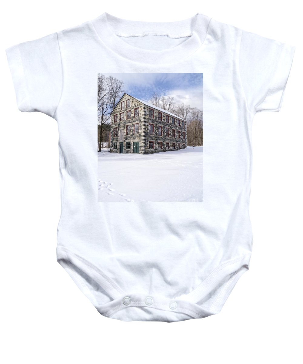 Barn Baby Onesie featuring the photograph The Stone Mill At The Enfield Shaker Museum by Edward Fielding