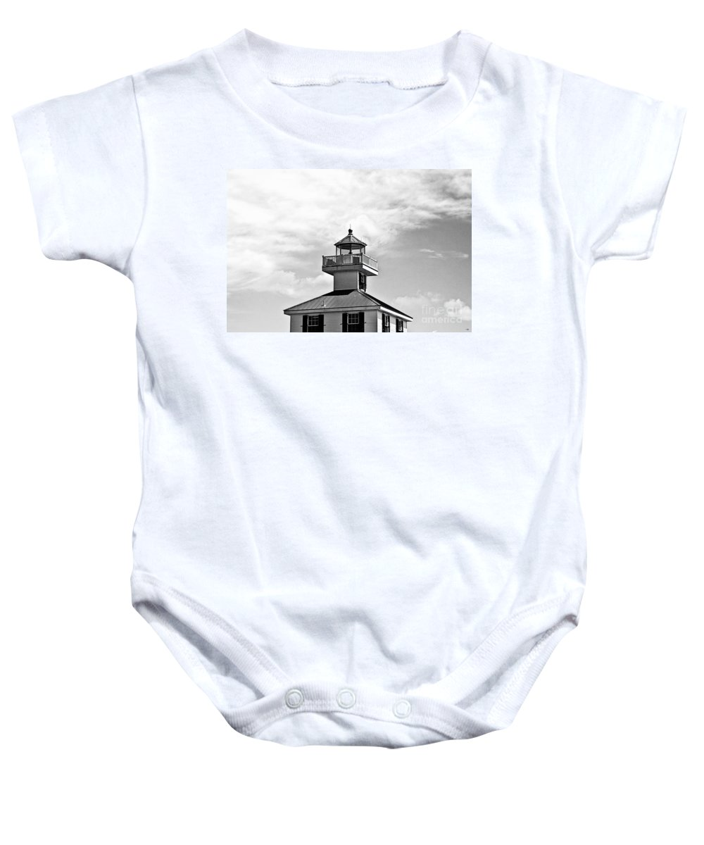 New Canal Lighthouse Baby Onesie featuring the photograph Top Of The New Canal Lighthouse - Bw by Scott Pellegrin