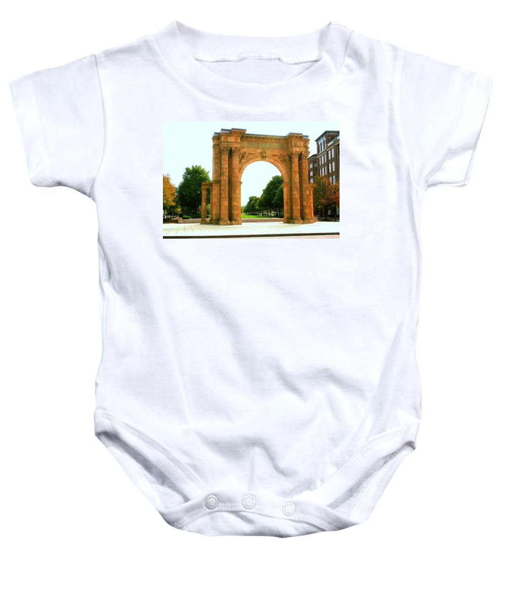 Arch Baby Onesie featuring the photograph Union Station Arch by Laurel Talabere