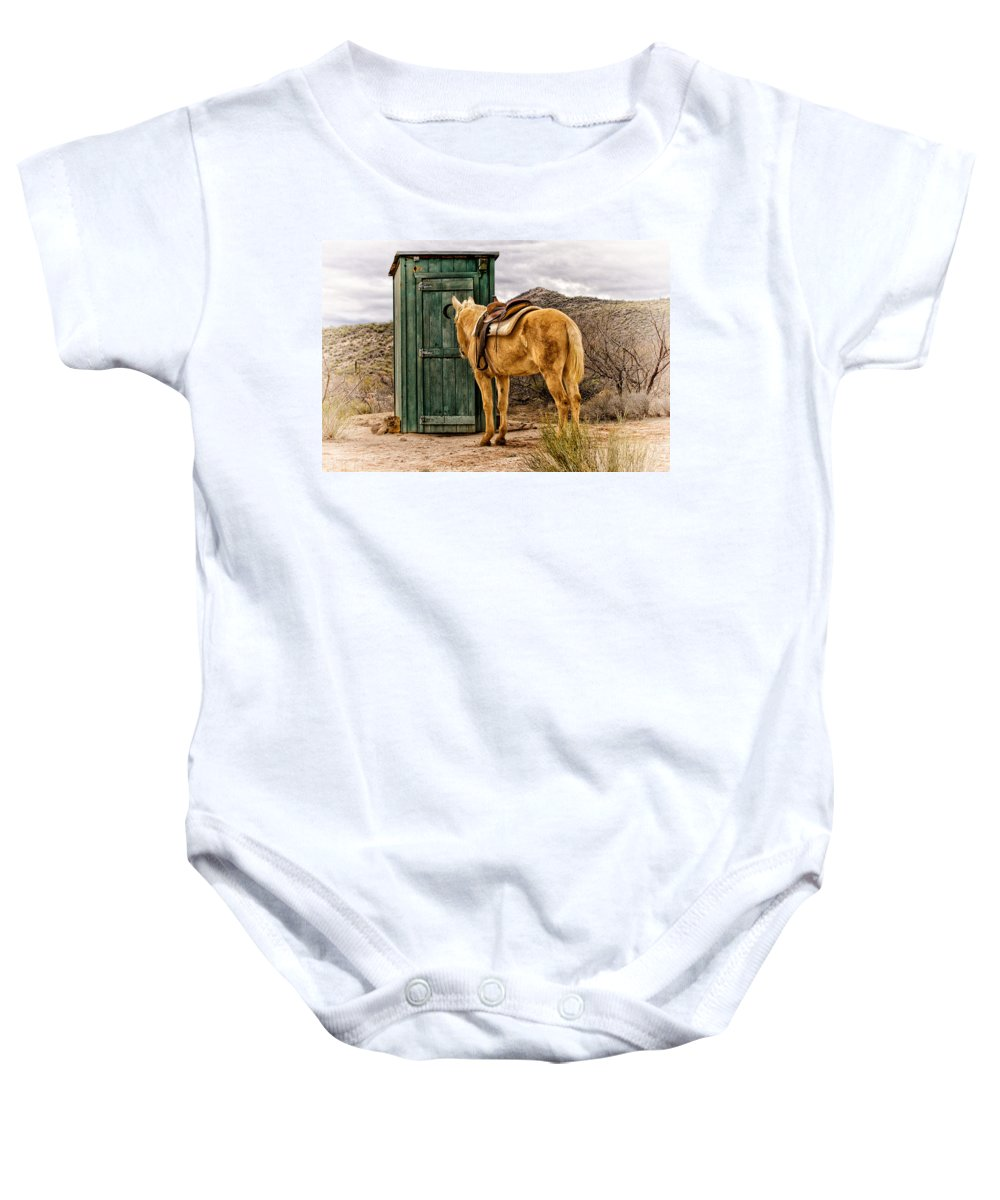 Outhouse Baby Onesie featuring the photograph Waiting by Susan Kordish