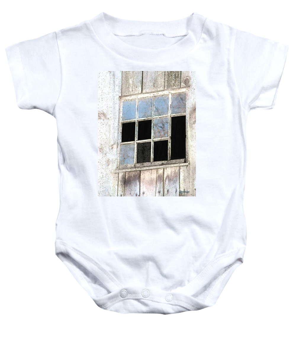 Barn Baby Onesie featuring the painting Weatherworn by RC DeWinter