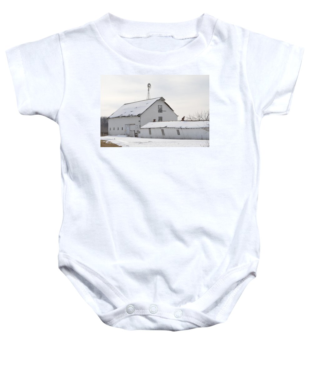 Abandoned Barn Baby Onesie featuring the photograph White Barn by Bonfire Photography