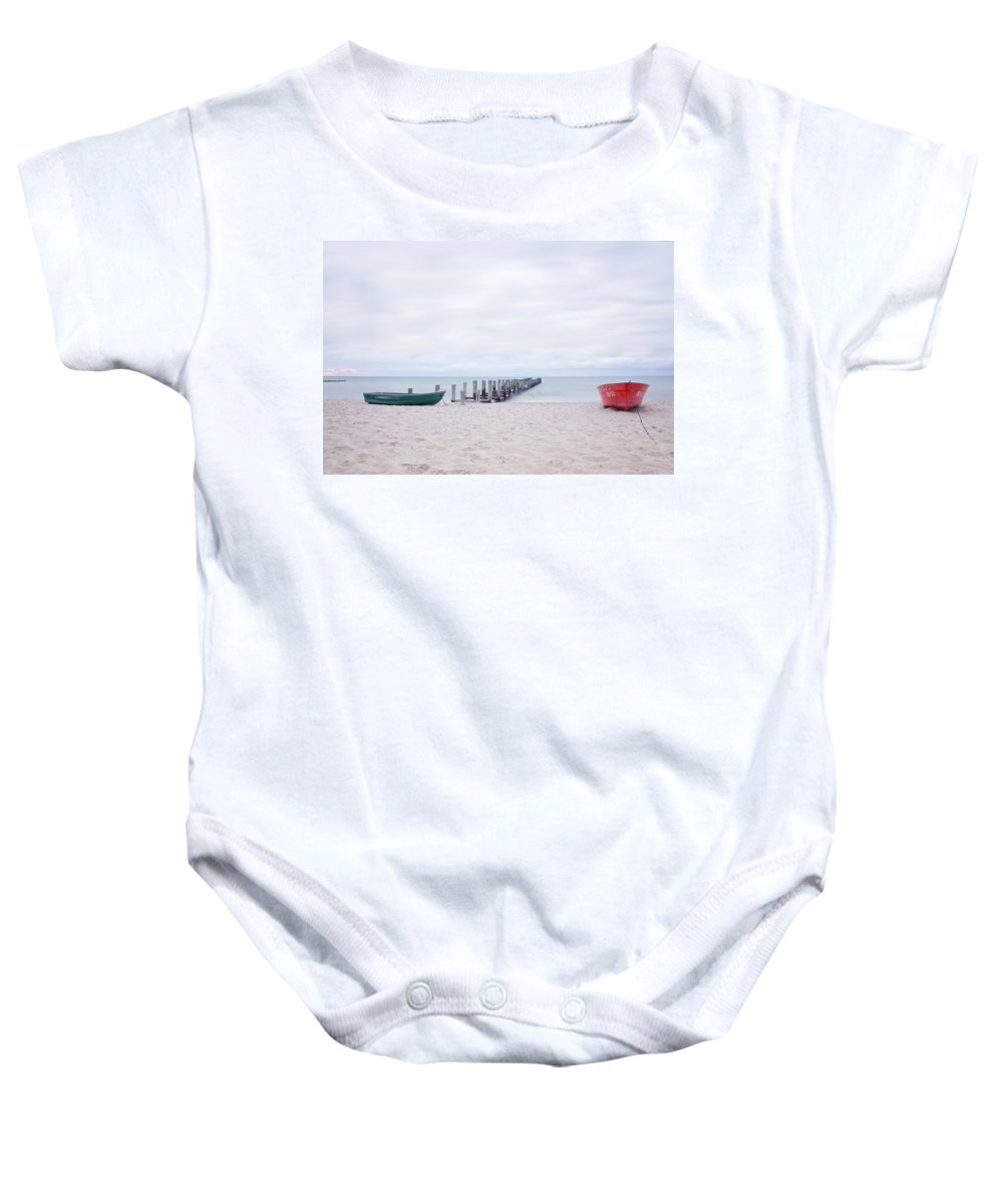 Ostsee Baby Onesie featuring the pyrography Zingst by Steffen Gierok