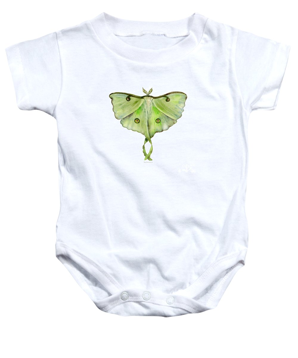 Green Butterfly Baby Onesie featuring the painting 100 Luna Moth by Amy Kirkpatrick