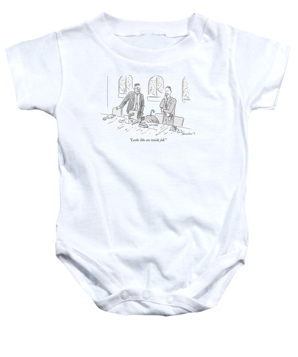 Christmas Baby Onesie featuring the drawing Looks Like An Inside Job by Danny Shanahan