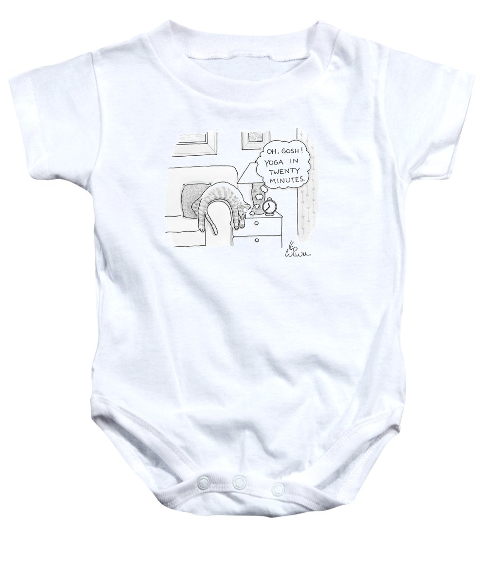 Cat Baby Onesie featuring the drawing Oh Gosh Yoga In Twenty Minutes by Leo Cullum