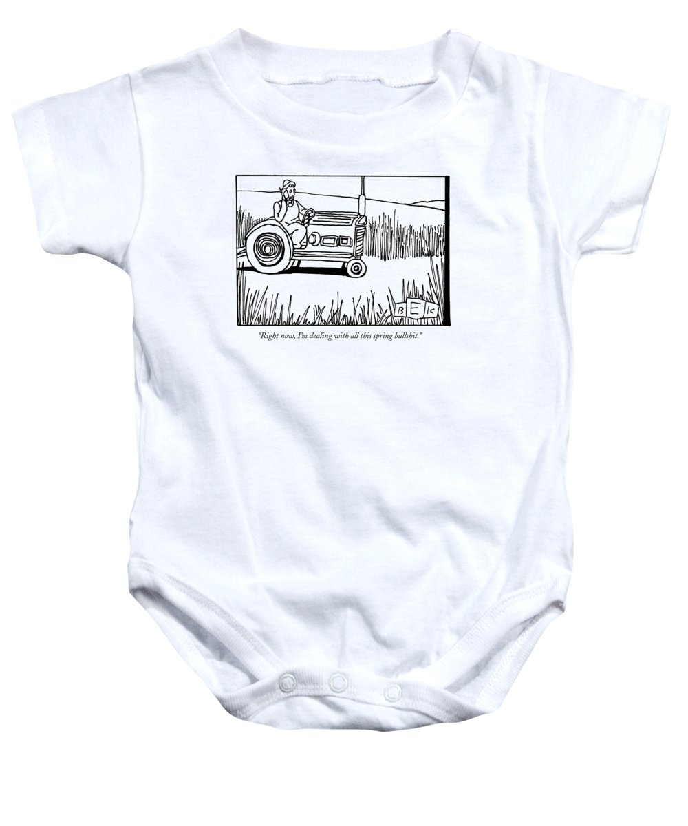 Spring Baby Onesie featuring the drawing Right Now, I'm Dealing With All This Spring by Bruce Eric Kaplan