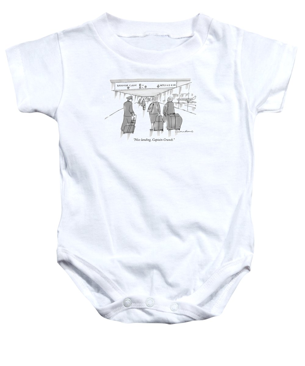 Airports Baby Onesie featuring the drawing Nice Landing by Michael Crawford