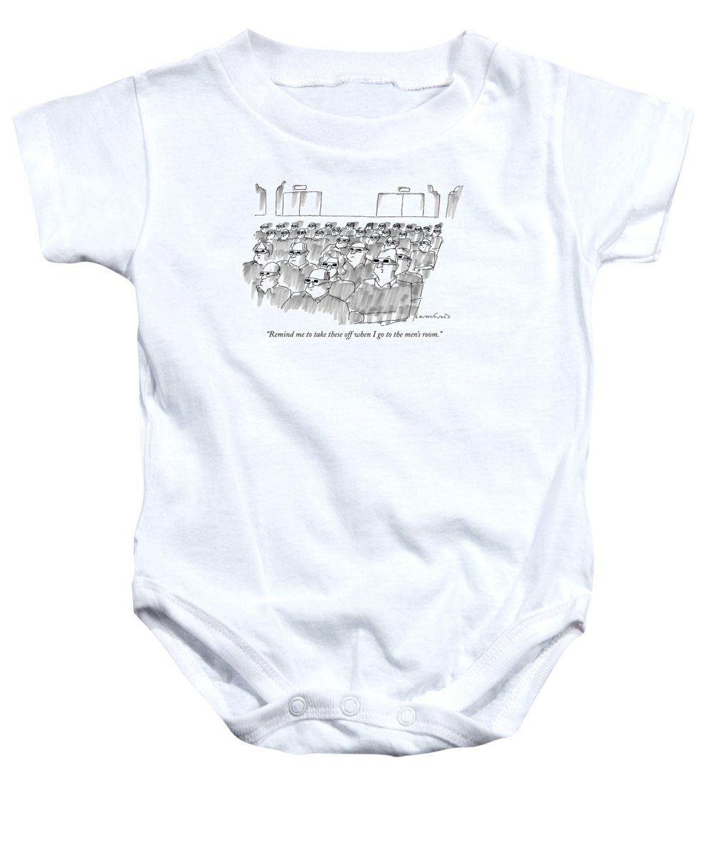 Senility Baby Onesie featuring the drawing Remind Me To Take These Off When I Go by Michael Crawford