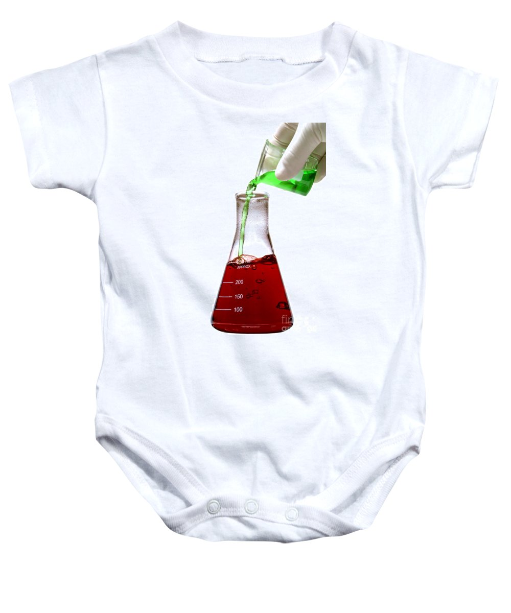 Biology Baby Onesie featuring the photograph Laboratory Experiment In Science Research Lab by Science Research Lab By Olivier Le Queinec