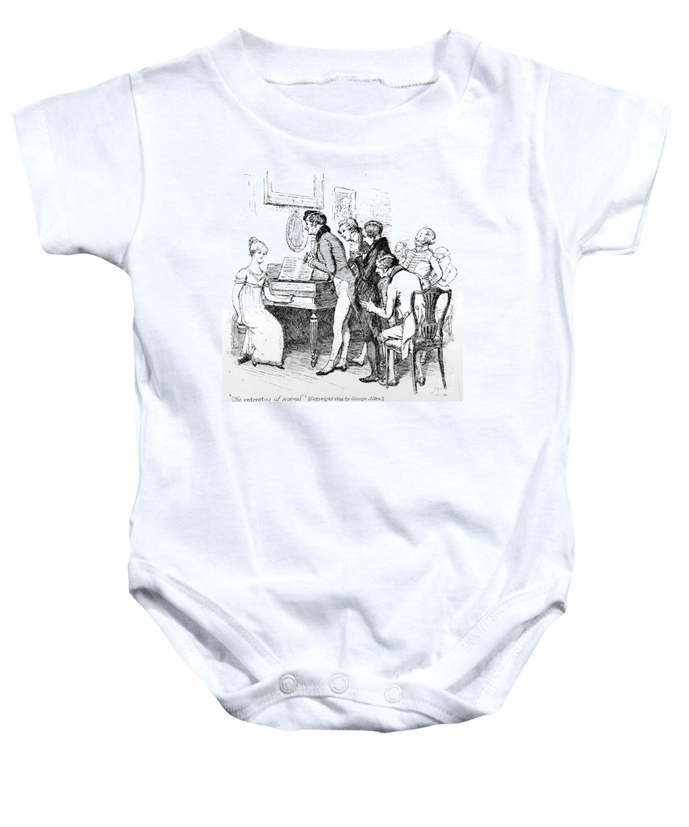 Entreaties Of Several; Illustration; Pride And Prejudice; Jane Austen; Illustrated; Edition; Elizabeth Bennet; Bennett; Asked To Sing; Playing; Piano; Piano-forte; Pianoforte; Character; Georgian; Musical Instrument; Performance; Evening Baby Onesie featuring the drawing Scene From Pride And Prejudice By Jane Austen by Hugh Thomson