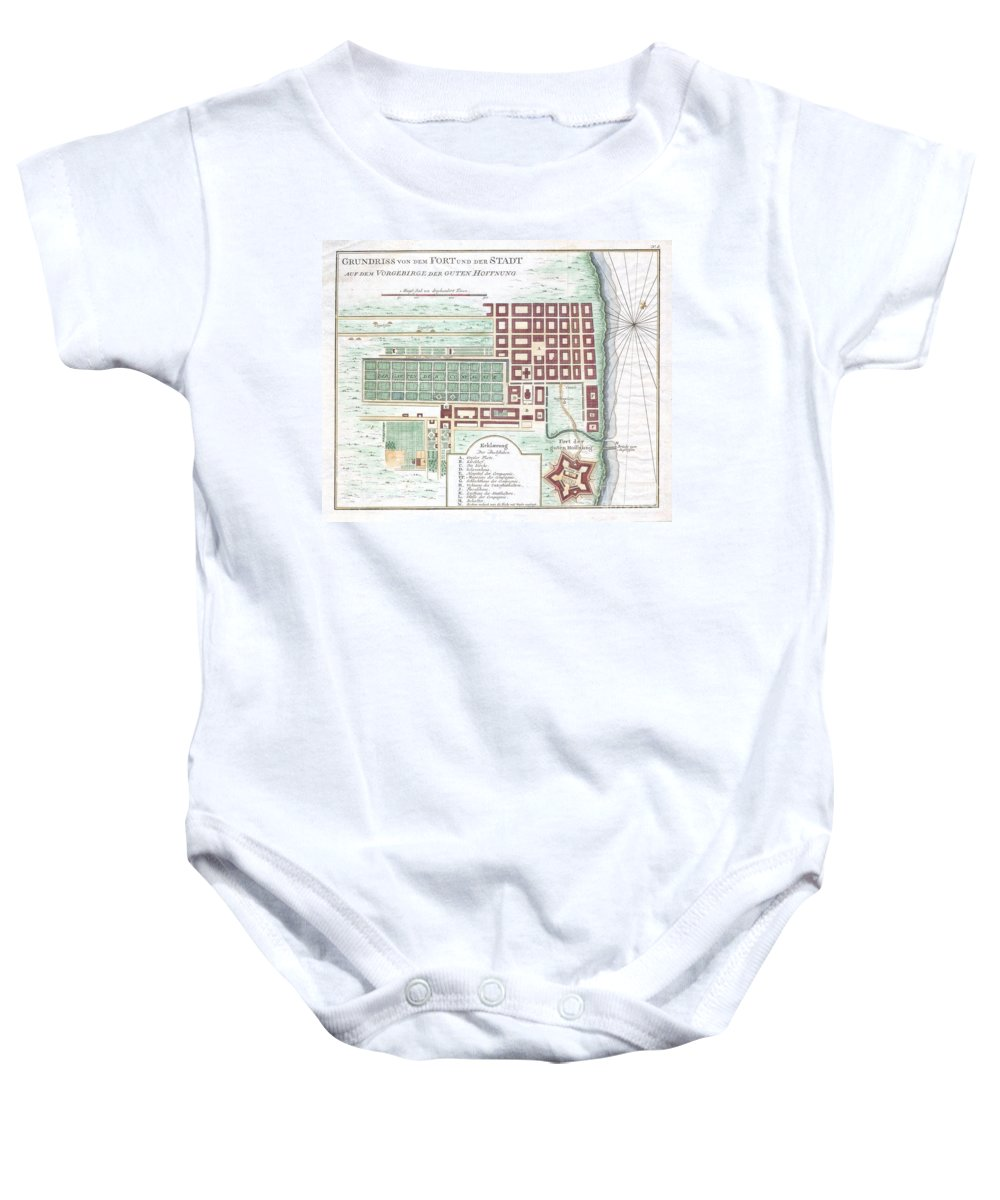 Featured Here Is A Rare C. 1750 Map Of Cape Town Baby Onesie featuring the photograph 1750 Bellin Map Of Cape Town South Africa by Paul Fearn