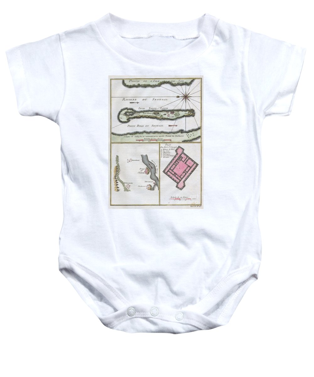 This Stunning 1747 Nautical Chart By French Mapmaker J. C. Bellin Baby Onesie featuring the photograph 1750 Bellin Map Of The Senegal by Paul Fearn
