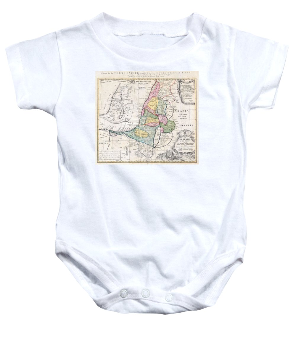 This Is One Of The Homann Heirs Finest And Most Appealing Maps Of Palestine / Israel / The Holy Land. Depicts The Region Divided Into The 12 Tribes Of Israel. In The Right Hand Corners There Are Two Title Cartouches. The Lower Is Exceptionally Decorative And Depicts With Two Spies Of Moses Bearing The Fruit From The Promised Land To The Hebrew Camp Baby Onesie featuring the photograph 1750 Homann Heirs Map Of Israel Palestine Holy Land by Paul Fearn