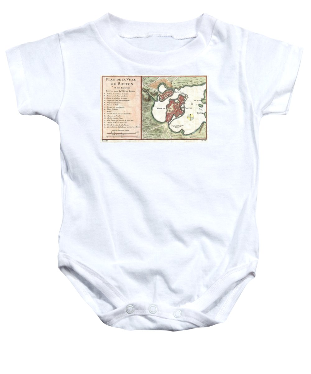 This Hand Colored Map Is A C. 1756 Map Of Boston Baby Onesie featuring the photograph 1756 Bellin Map Of Boston Massachusetts by Paul Fearn