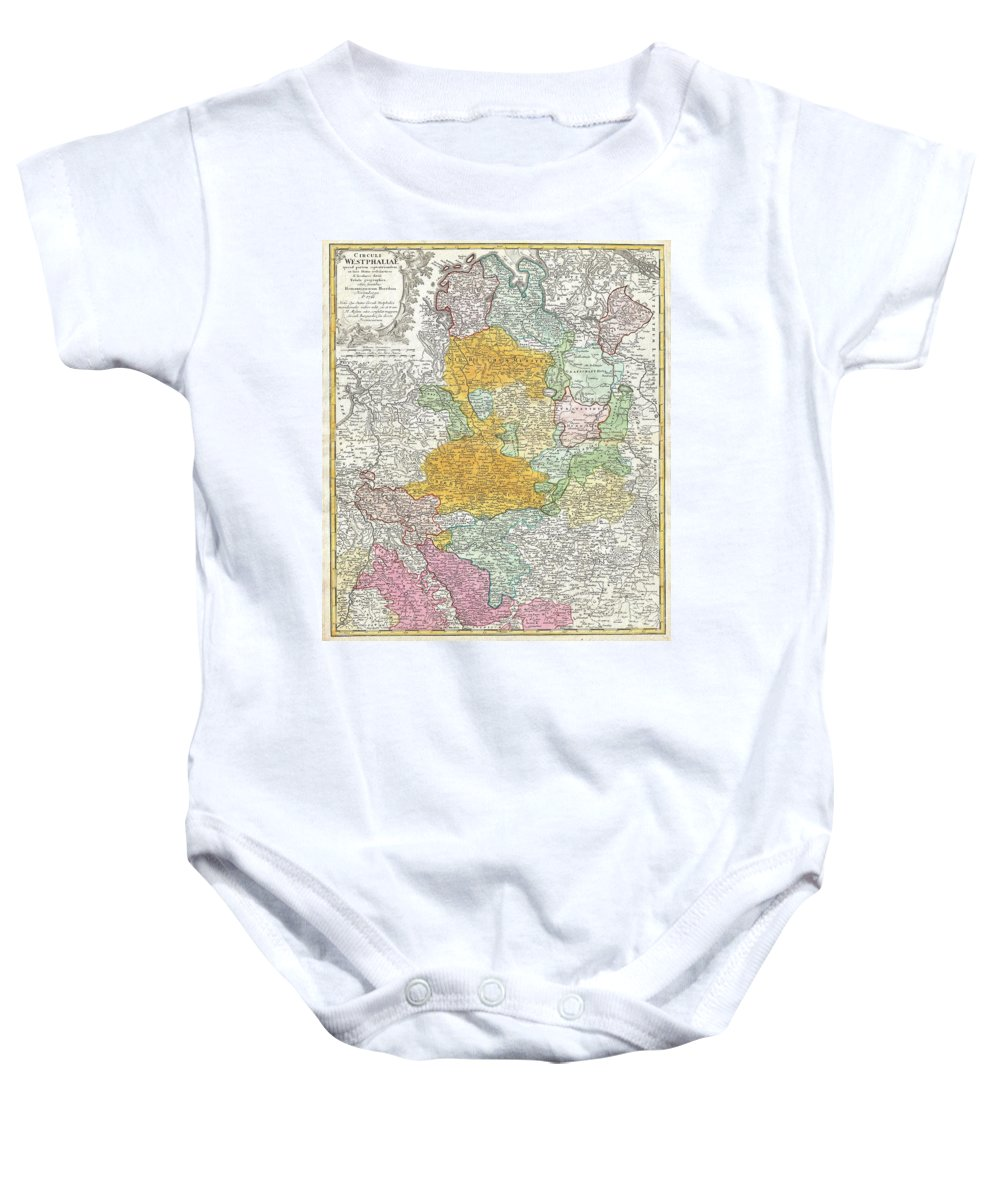 A Beautifully Detailed C. 1761 Homann Heirs Map Of Westphalia. Covers From Bremen And Hamburg In The North To Cologne Baby Onesie featuring the photograph 1761 Homann Heirs Map Of Westphalia by Paul Fearn