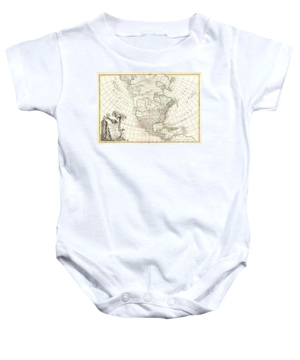 An Altogether Fascinating Map Of North America By Jean Janvier Dating To 1862. Covers The Continent From Panama To The Arctic Circle Baby Onesie featuring the photograph 1762 Janvier Map Of North America by Paul Fearn
