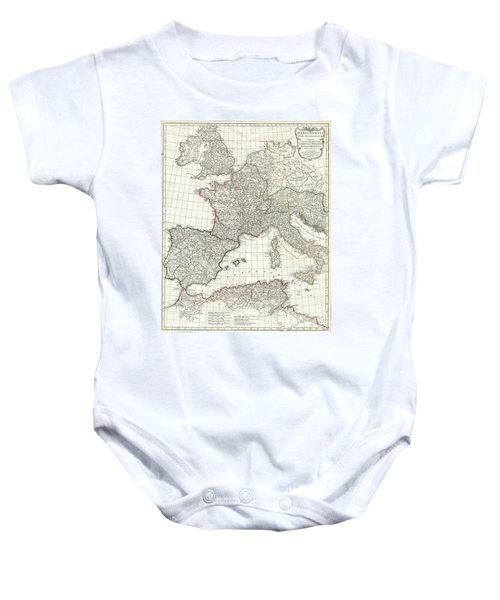 This Is The Stunning Western Sheet From Jean Baptiste Bourguignon D'anville's Two Map Set Depicting The Roman Empire. Depicts The Western Portion Of The Roman Empire From Italy And Dalmatia Westward To Include All Of Spain Baby Onesie featuring the photograph 1763 Anville Map Of The Western Roman Empire by Paul Fearn