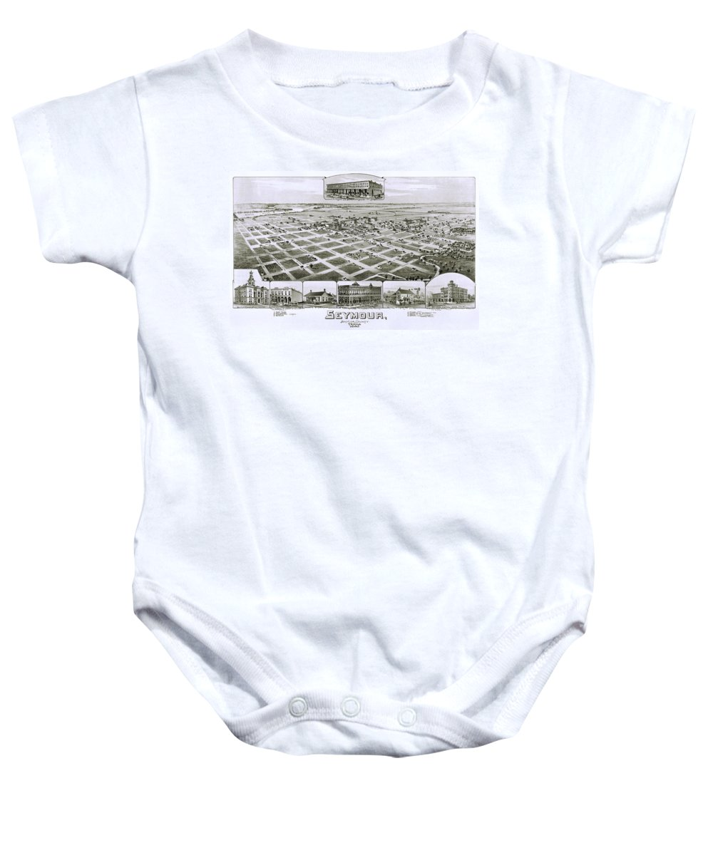 Map Baby Onesie featuring the photograph 1890 Vintage Map Of Seymour Texas by Stephen Stookey