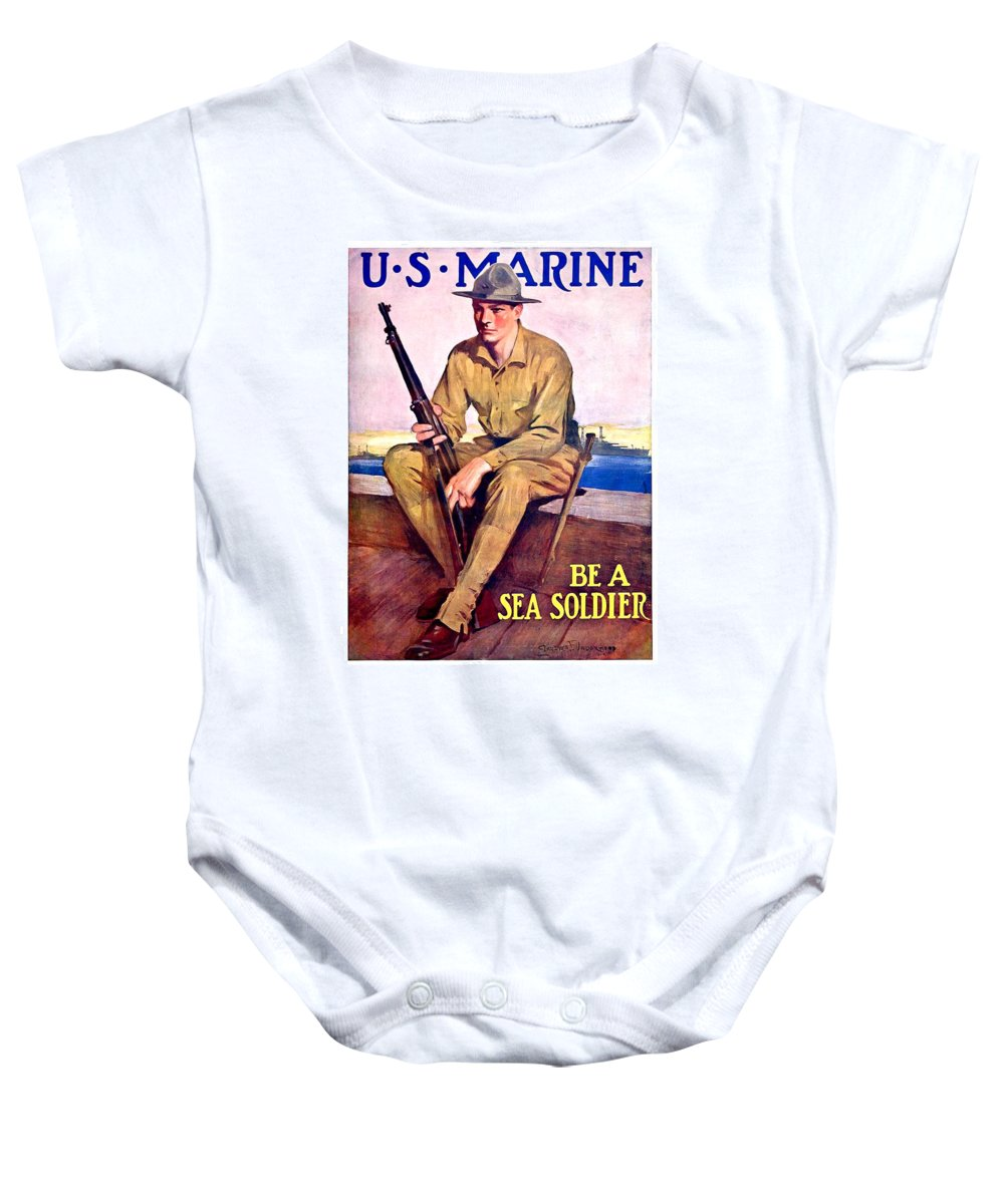 1917 Baby Onesie featuring the digital art 1917 - United States Marines Recruiting Poster - World War One - Color by John Madison