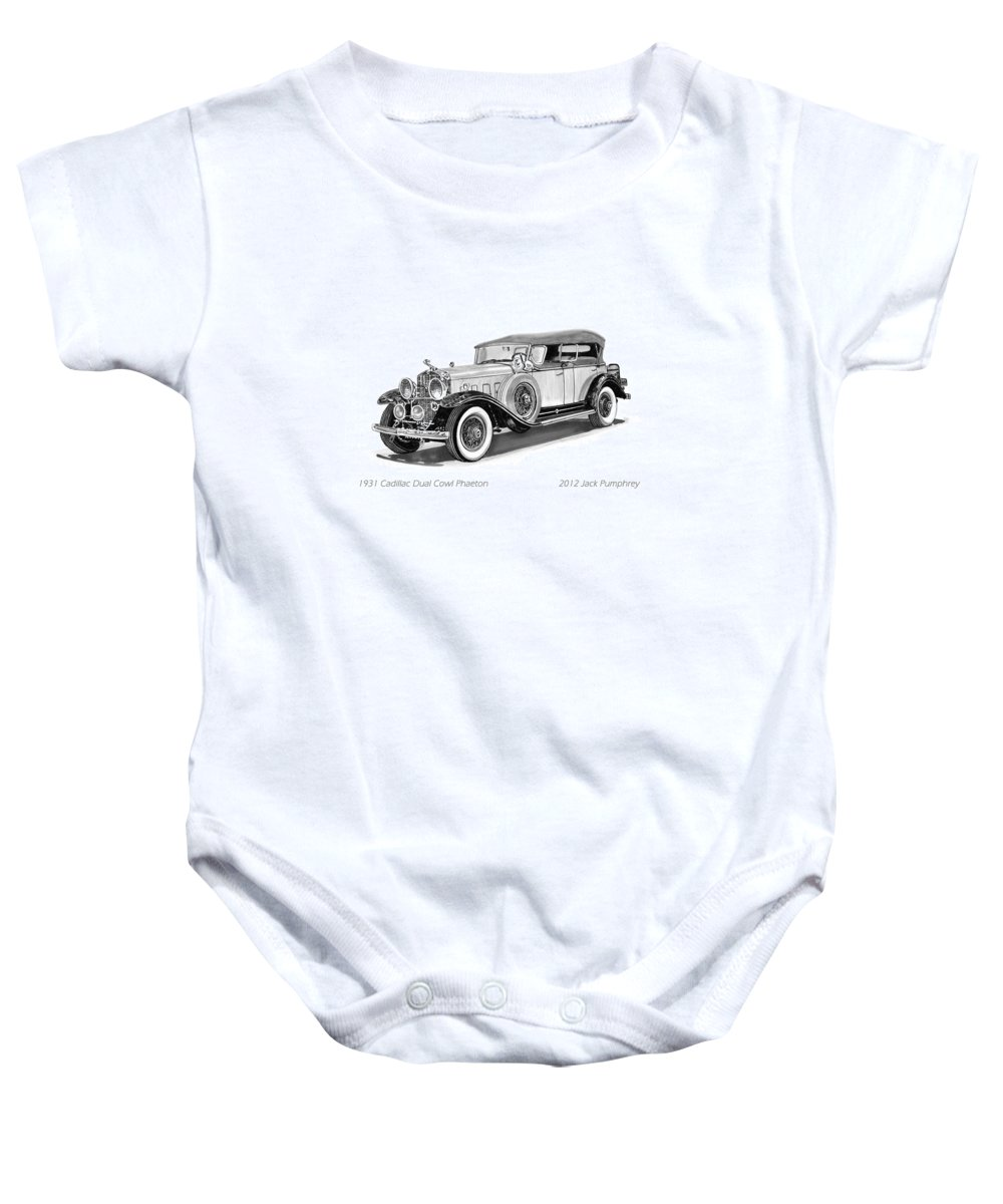 Pen And Ink Art Of Classic 1931 Cadillac Dual Cowl Phaeton By Jack Pumphrey Baby Onesie featuring the painting 1931 Cadillac Phaeton by Jack Pumphrey