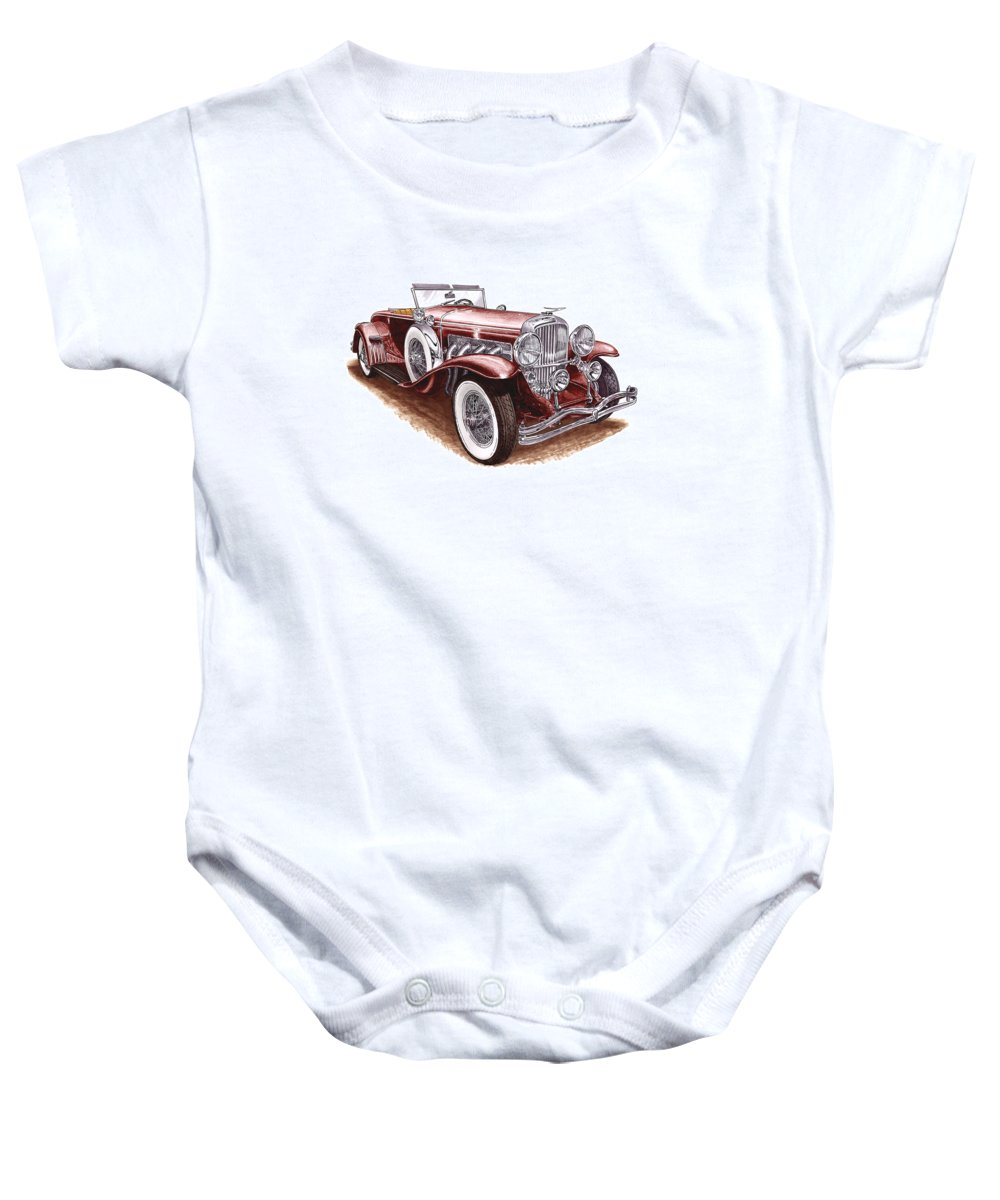 An Art Print Using Colored Pencils Of A 1930 Duesenberh Model J Roadster Coupe Baby Onesie featuring the mixed media 1930 Dusenberg Model J by Jack Pumphrey