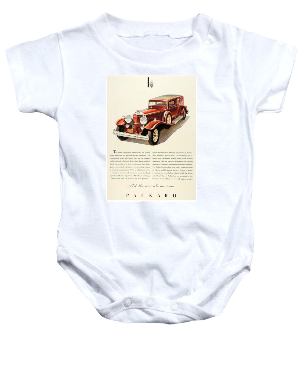 Packard Baby Onesie featuring the digital art 1931 - Packard - Advertisement - Color by John Madison