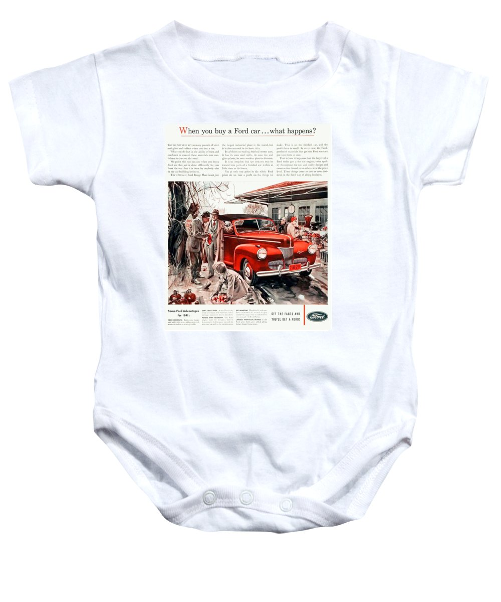 1941 Baby Onesie featuring the digital art 1941 - Ford Super Deluxe Automobile Advertisement - Color by John Madison