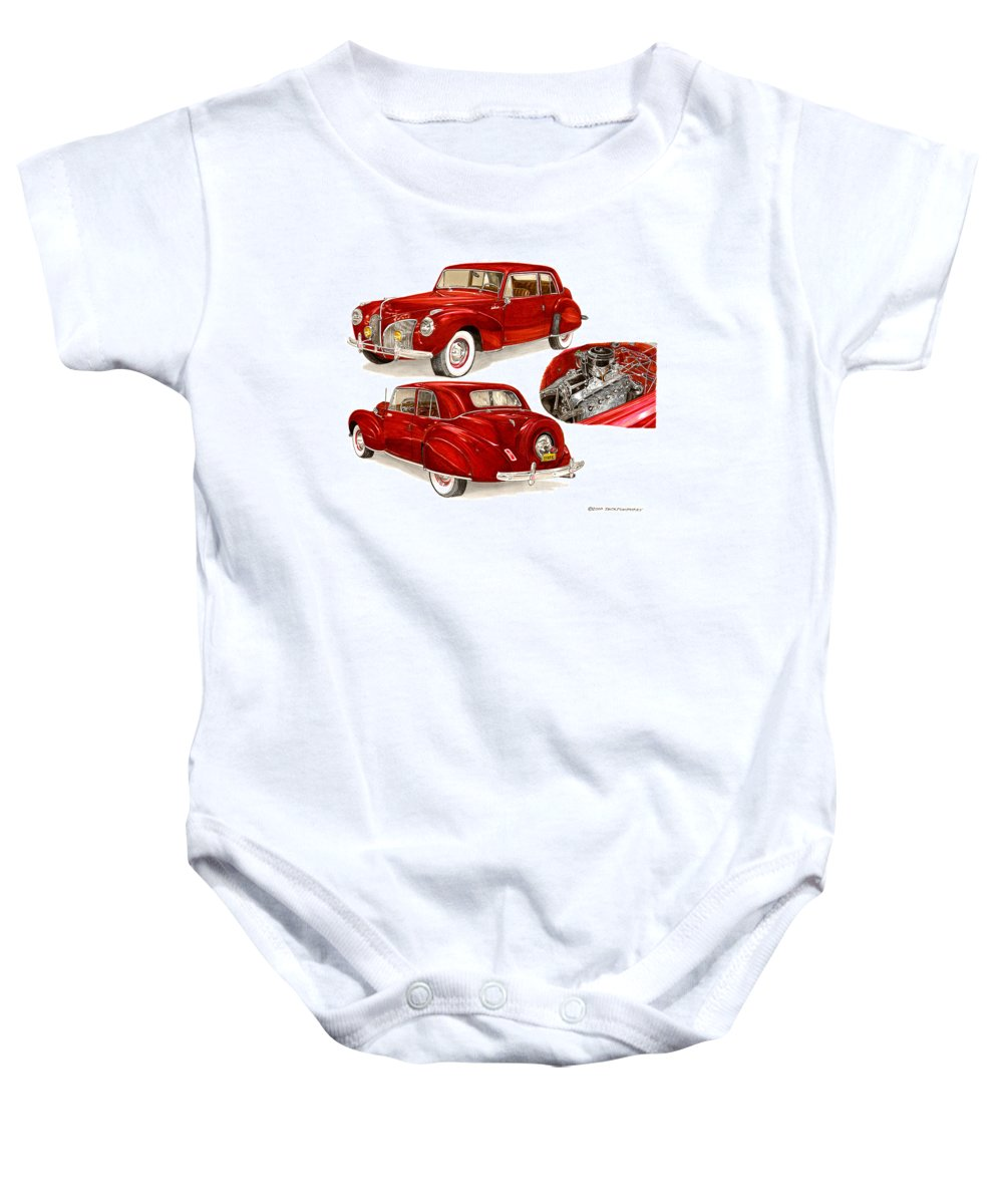 A Jack Pumphrey Watercolor Painting Of A 1941 Lincoln Continental Baby Onesie featuring the painting 1941 V 12 Lincoln Continental by Jack Pumphrey