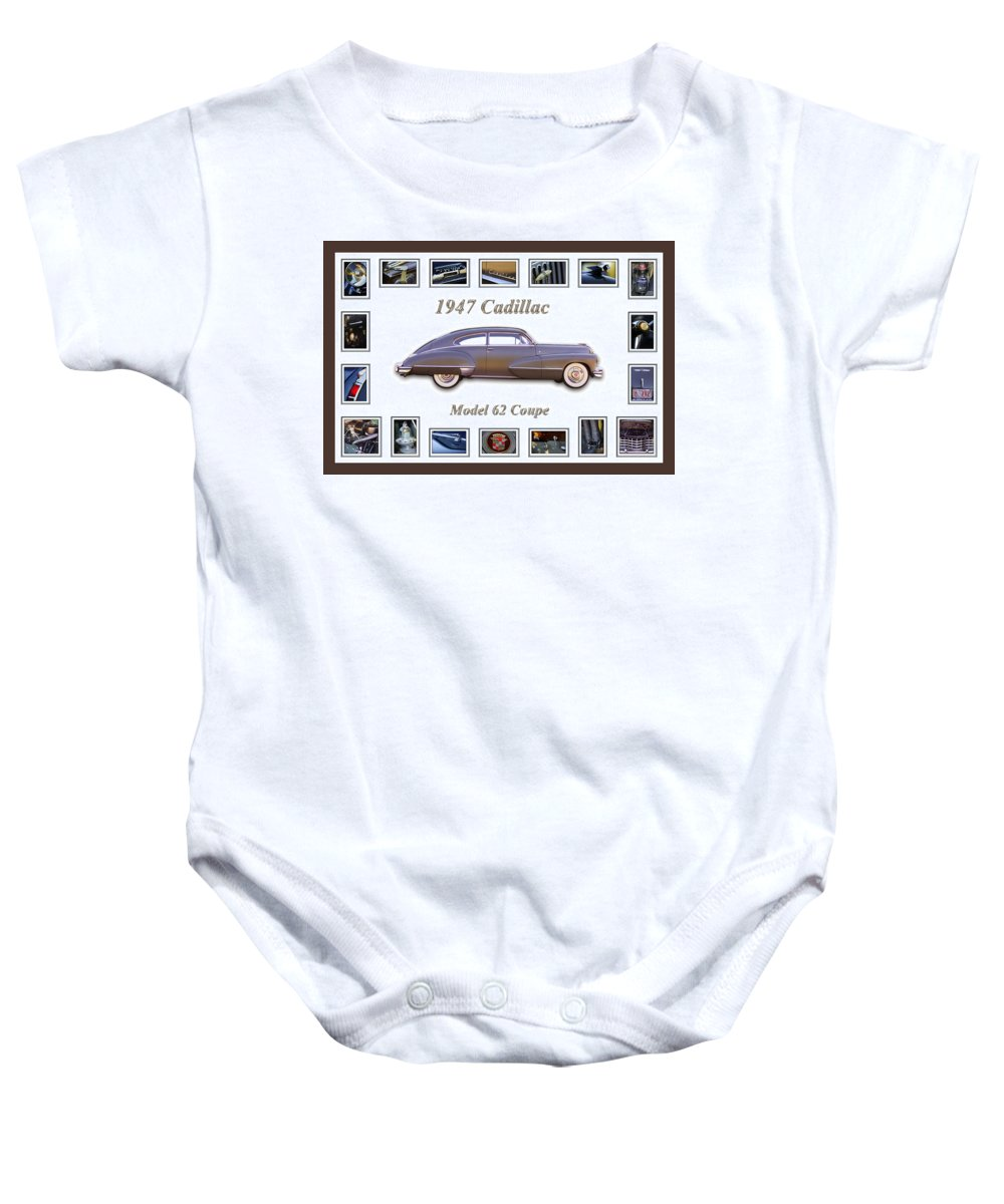 1947 Cadillac Model 62 Coupe Art Baby Onesie featuring the photograph 1947 Cadillac Model 62 Coupe Art by Jill Reger