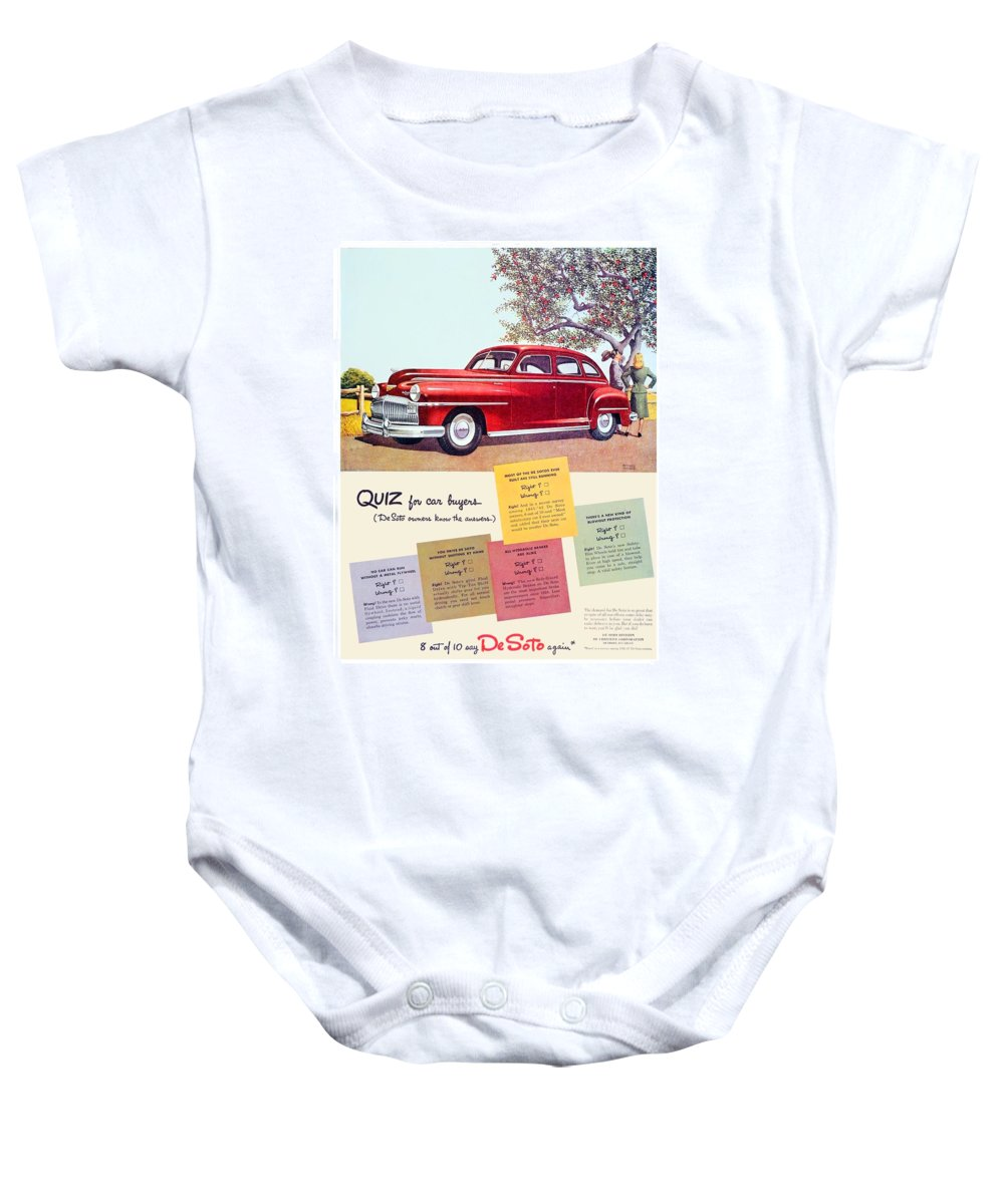 1947 Baby Onesie featuring the digital art 1947 - Desoto Automobile Advertisement - Color by John Madison