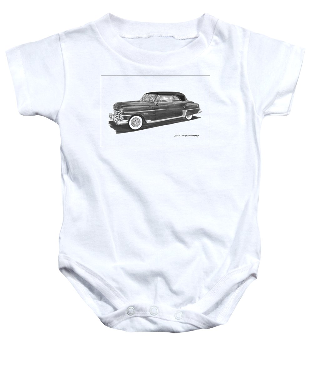 Framed Prints Of Pen And Ink Wash Paintings Of Cars From The 30s Baby Onesie featuring the painting 1950 Chrysler Newport by Jack Pumphrey