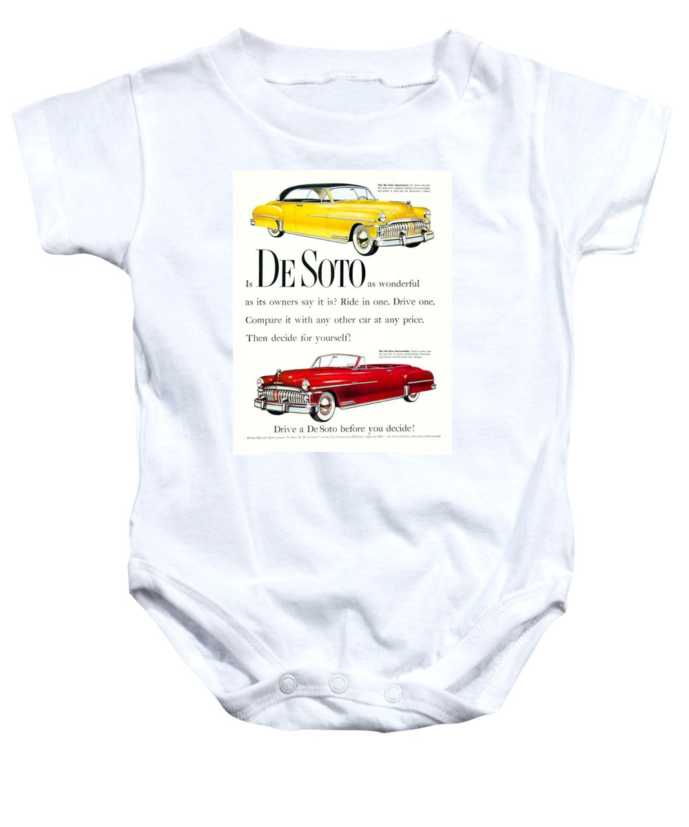 Desoto Baby Onesie featuring the digital art 1950 - De Soto Sportsman Convertible - Advertisement - Color by John Madison