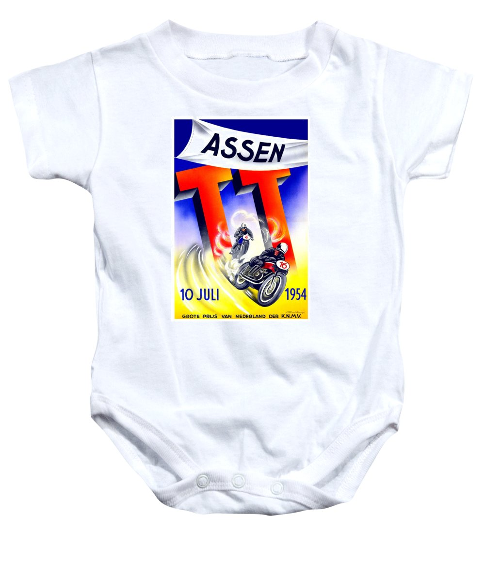 1954 Baby Onesie featuring the digital art 1954 - Assen Tt Motorcycle Poster - Color by John Madison